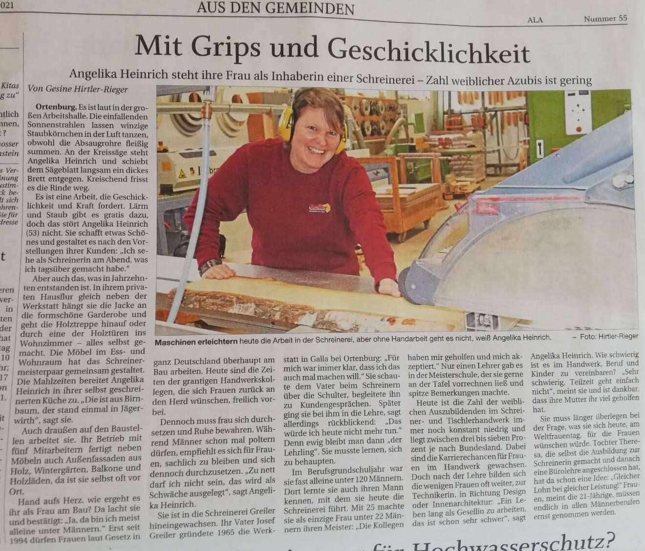 Schreinerei greiler- Angelika Heinrich